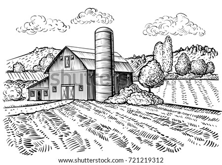 Rural Landscape Farm Barn And Windmill Sketch Hand Draw Illustration Of Countryside Natural Scenic