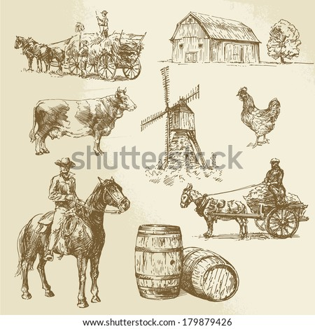 rural landscape, farm - hand drawn windmill  - stock vector