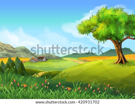 Rural landscape, nature, summer, vector background - stock vector