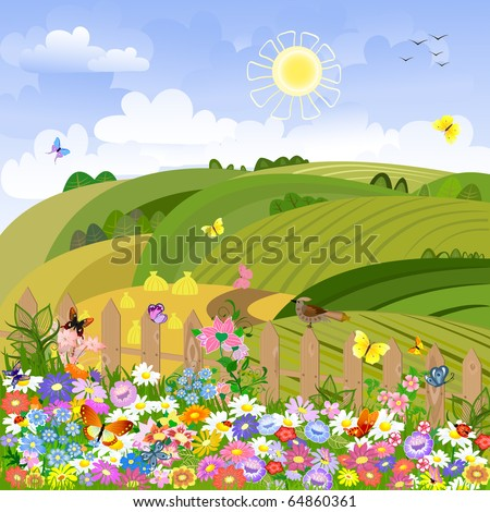 Rural landscape on a sunny day - stock vector