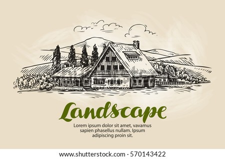 Farm Country House Cottage Vector Illustration
