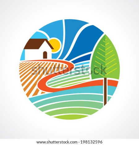 Rural landscape with a hut - stock vector