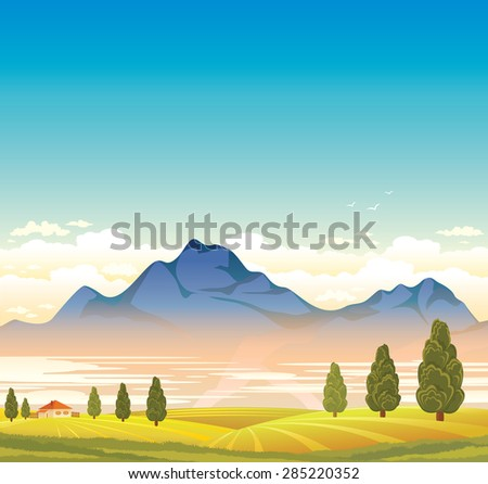 Rural landscape with blue mountain and green field. Natural summer vector.