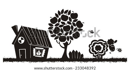 Rural landscape with farm animals. Vector silhouette. - stock vector