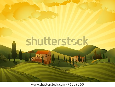 Rural landscape with fields and hills - stock vector