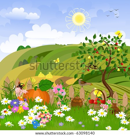 Rural landscape with fruit trees - stock vector