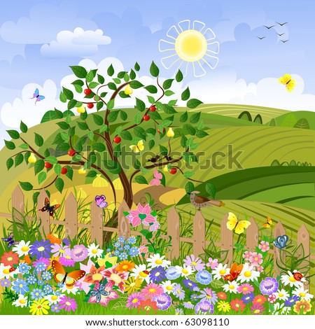 Rural landscape with fruit trees and a fence - stock vector