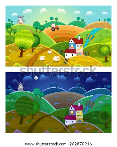 Rural landscape with hills, house, mill and tractor. Day and night. - stock vector