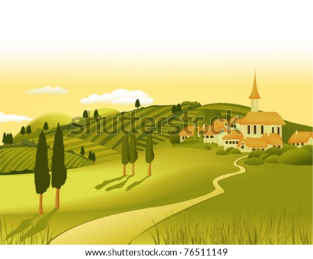 Rural landscape with little town - stock vector