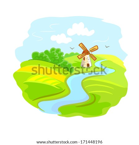 rural landscape with mill. vector illustration - stock vector