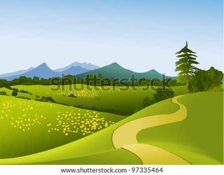 Rural landscape with mountains - stock vector