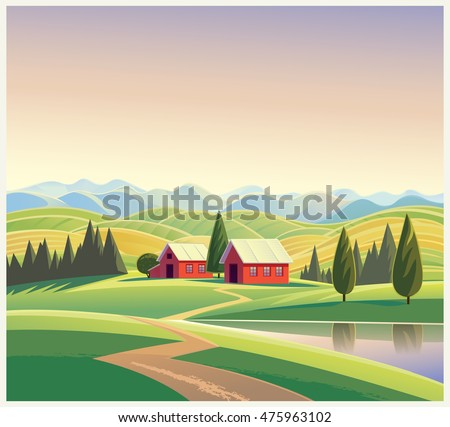 Rural landscape with the houses and mountains and hills, vector illustration.