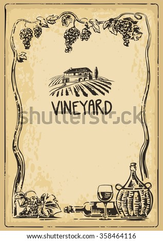 Rural landscape with villa and vineyard fields. Bunch of grapes, a bottle, a glass and a jug of wine on old paper texture background. Vintage vector high illustration for label, poster, web, icon.  - stock vector