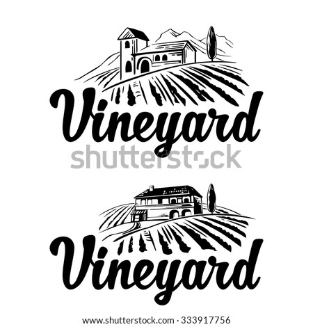 Rural landscape with villa, vineyard fields and hills. Black and white vintage vector illustration for label, poster, logotype, icon. - stock vector