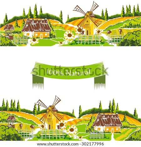 Rural landscapes vector illustration - stock vector