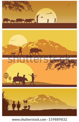 Rural of Thailand landscapes, vector - stock vector