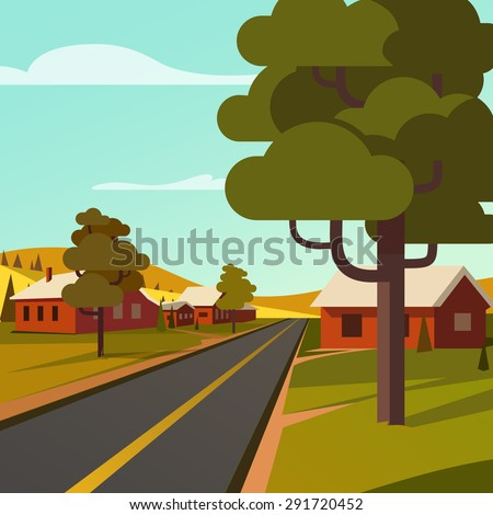 Rural road crossing the village countryside. Flat style vector illustration. - stock vector