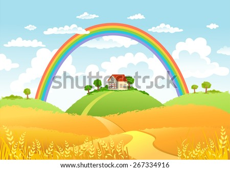 Rural scene with rainbow and yellow field, house and trees on sunny day - stock vector