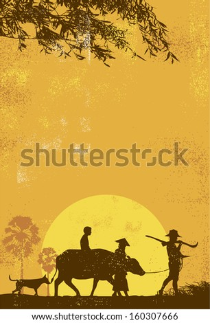 Rural scenery in Thailand, farmer family walking back home - stock vector