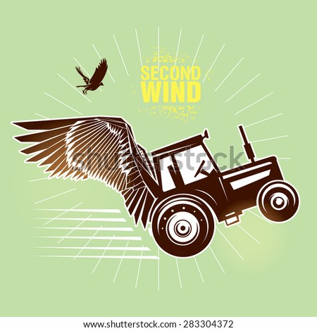 "Rural tractor.  Vector illustration created in topic ""Second wind "" - stock vector"