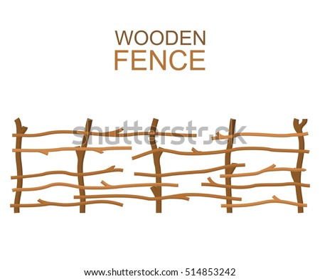 Rural wooden fence isolated on white background. Farm fence vector illustration. Branches fence rustic wood silhouette construction in flat style