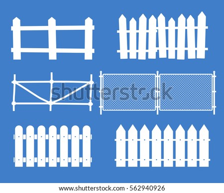Rural wooden fences, pickets vector. White silhouettes fence for garden illustration