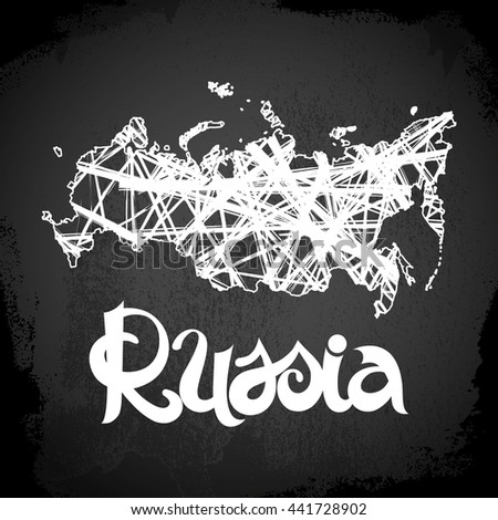 Russia. Abstract vector chalkboard background with lettering and map - stock vector