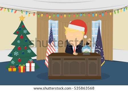 Russia December 12, 2016 Donald Trump in White House and santa hat.