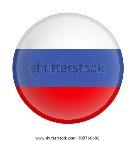 Russia flag Glossy Button - Vector - stock vector