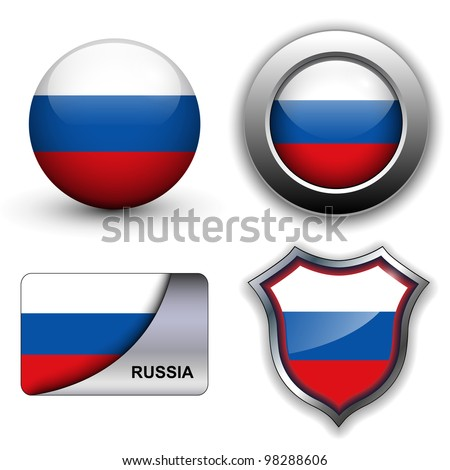 Russia flag icons theme. - stock vector