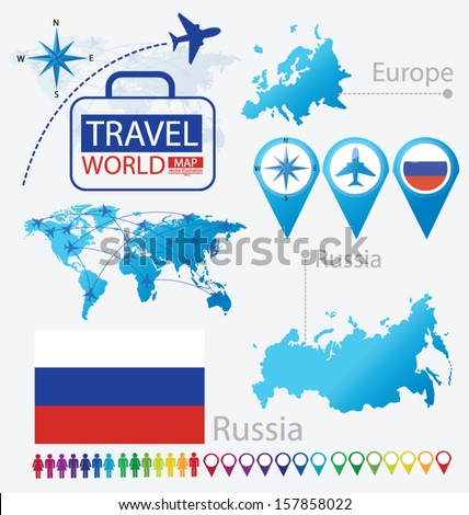Russia. flag. World Map. Travel vector Illustration. - stock vector