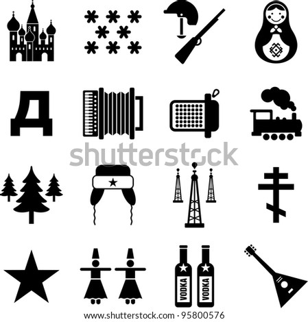 Russia icons - stock vector