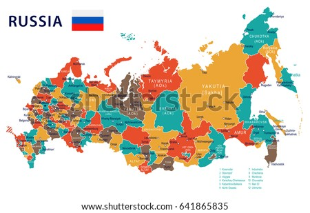 Russia Map Flag Highly Detailed Vector Stock Vector - Russia on map