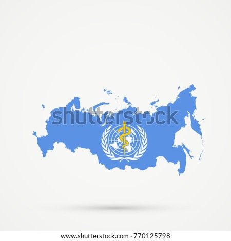 Russia map world health organization who stock vector 2018 russia map in world health organization who flag colors editable vector gumiabroncs Image collections