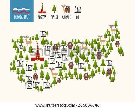 Russia Map. Infographic of the Russian Federation. Minerals oil and forests. Moscow Kremlin and bears. Vector illustration  - stock vector