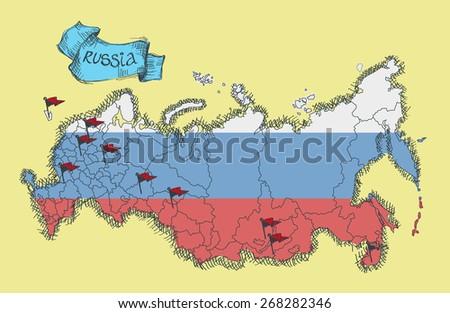 Russia map.  Vector. - stock vector