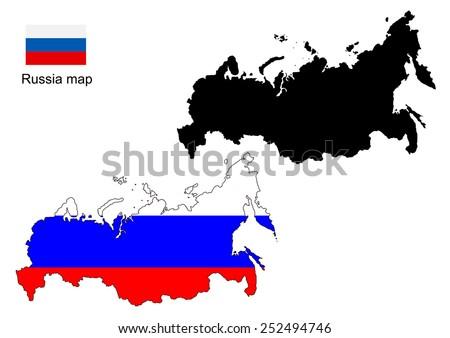 Russia map vector, Russia flag vector - stock vector
