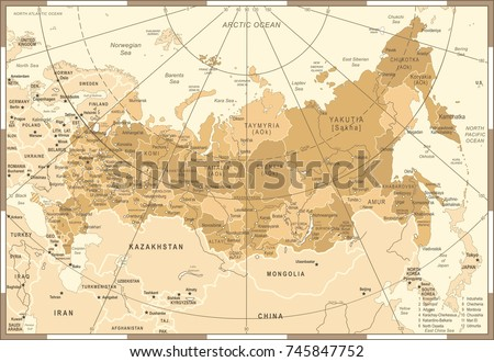 Russia Map - Vintage Detailed Vector Illustration