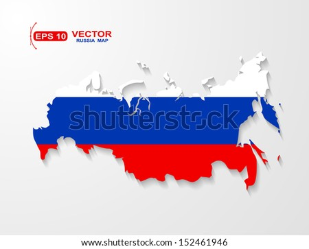 Russia map  with shadow effect - stock vector