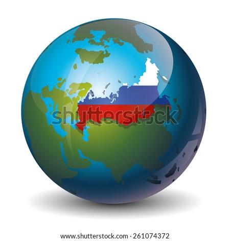 Russia on globe icon - stock vector
