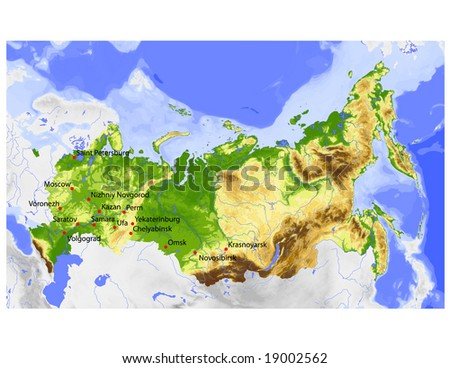 Russia. Physical vector map, colored according to elevation, with rivers, ocean depths and selected cities. Surrounding territory greyed out. 60 layers, fully editable. Data source: NASA - stock vector
