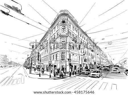 Unusual Perspective Hand Drawn Sketch City Vector Illustration