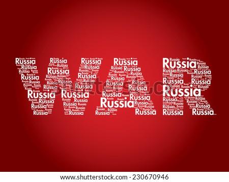 Russia War Terrorism concept word cloud vector background - stock vector