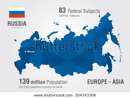Russia World Map Pixel Diamond Patternworld Stock Vector - Russia world map