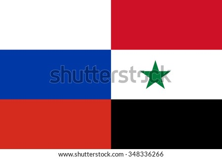 Russian and Syrian flags in correct colors together - stock vector