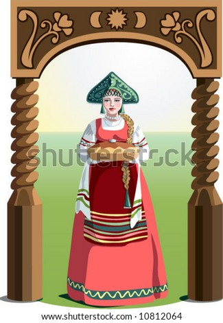 Russian beautiful woman / bread-and-salt welcome / wooden arch - stock vector