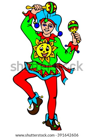 Russian clown dancing with rattles. Vector illustration - stock vector