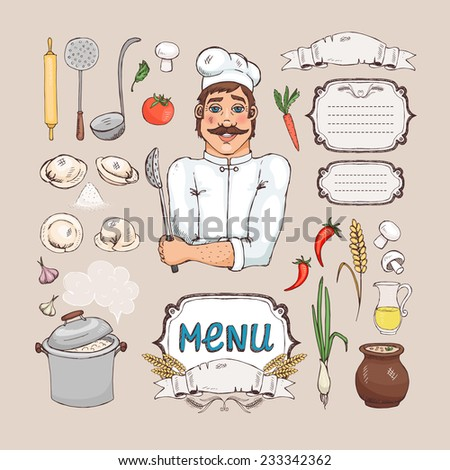 Russian cuisine. Chef Cook, food, cooking utensils and frame for the menu - stock vector