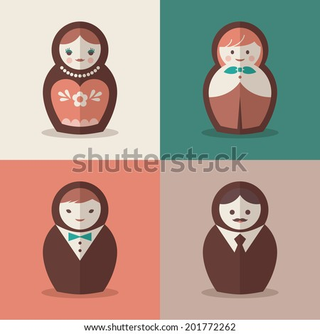 Russian doll groom and bride wedding vector icons