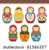Russian Doll in retro style. Perfect for card design, fabric, scrapbook, album. - stock vector